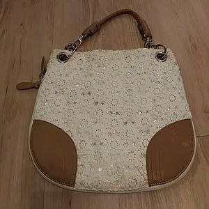 Handbags - Faux leather and fabric expandable tote